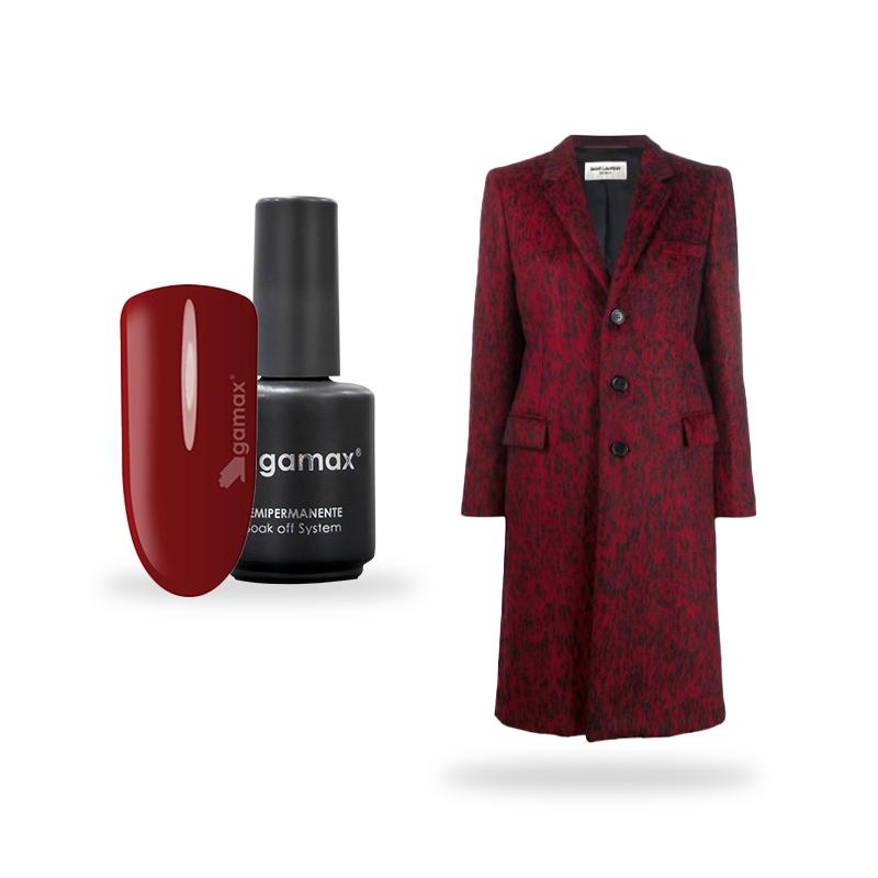 Smalto semipermanente rosso Gamax Queen e giacca Saint Laurent