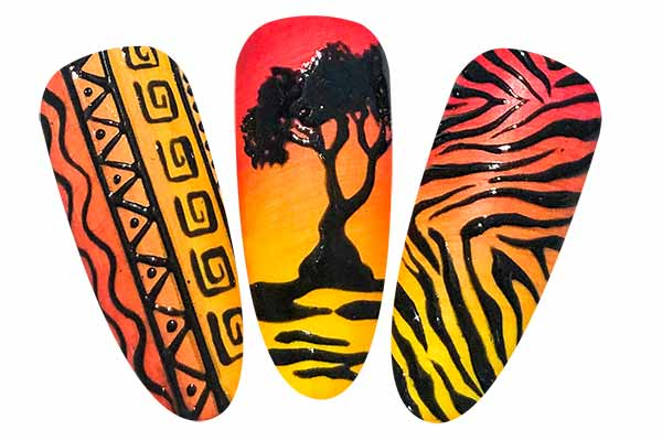 nail art tema africa