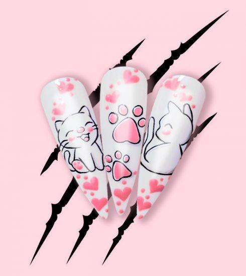 nail art tema gatto